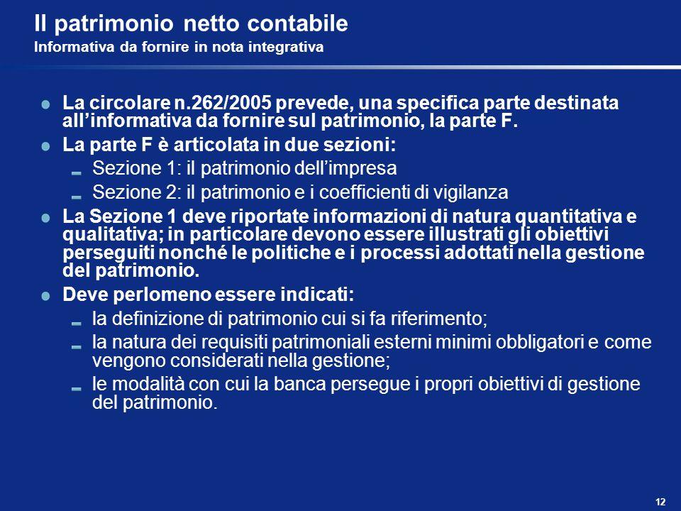 Il patrimonio netto contabile Informativa da fornire in nota integrativa