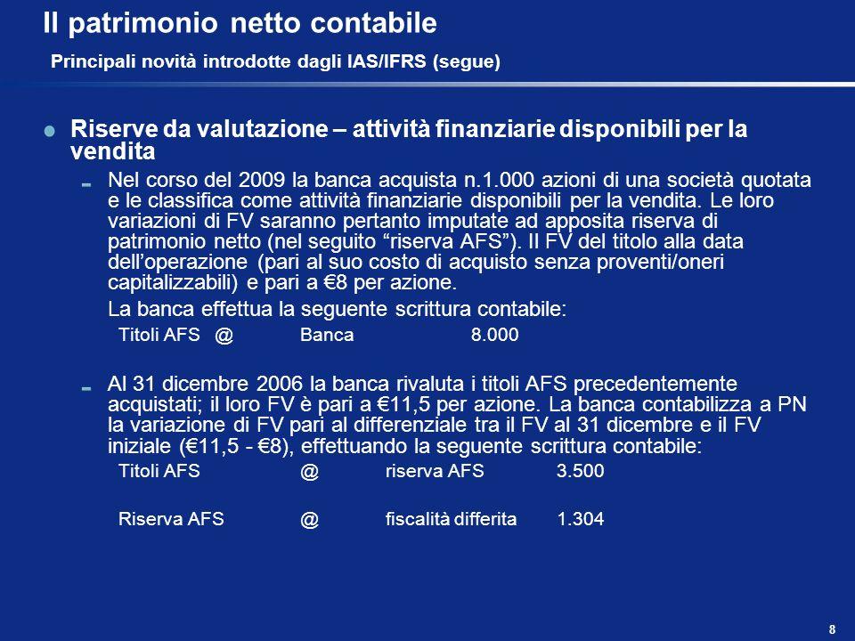 Il patrimonio netto contabile Principali novità introdotte dagli IAS/IFRS (segue)