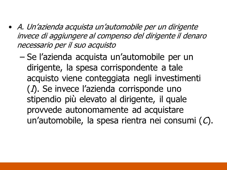 A. Un'azienda acquista un'automobile per un dirigente invece di aggiungere al compenso del dirigente il denaro necessario per il suo acquisto