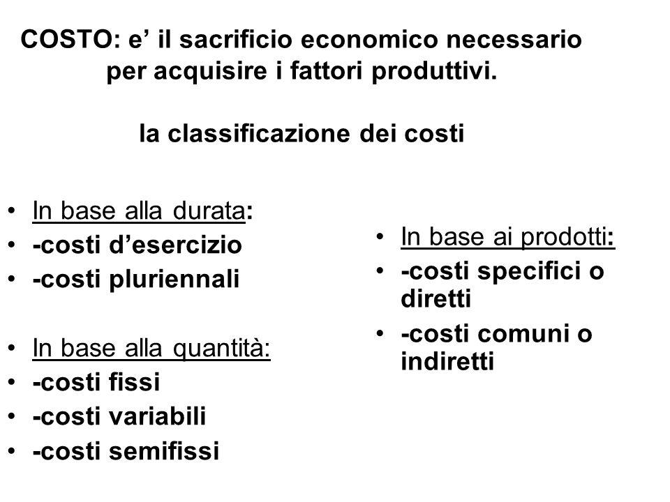 COSTO: e' il sacrificio economico necessario per acquisire i fattori produttivi. la classificazione dei costi