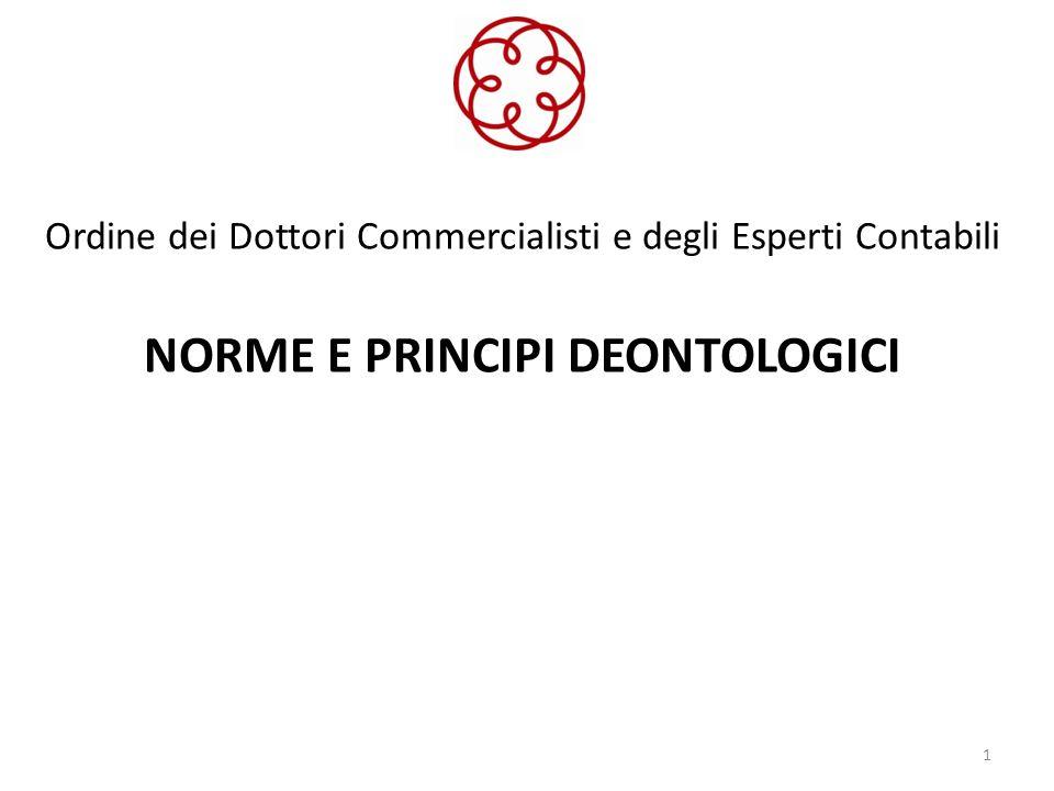 Ordine dei Dottori Commercialisti e degli Esperti Contabili NORME E PRINCIPI DEONTOLOGICI