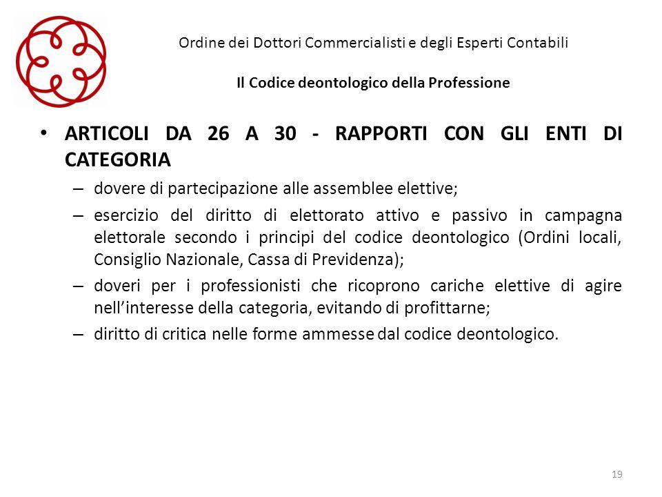 ARTICOLI DA 26 A 30 - RAPPORTI CON GLI ENTI DI CATEGORIA