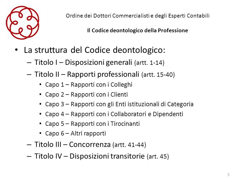 La struttura del Codice deontologico:
