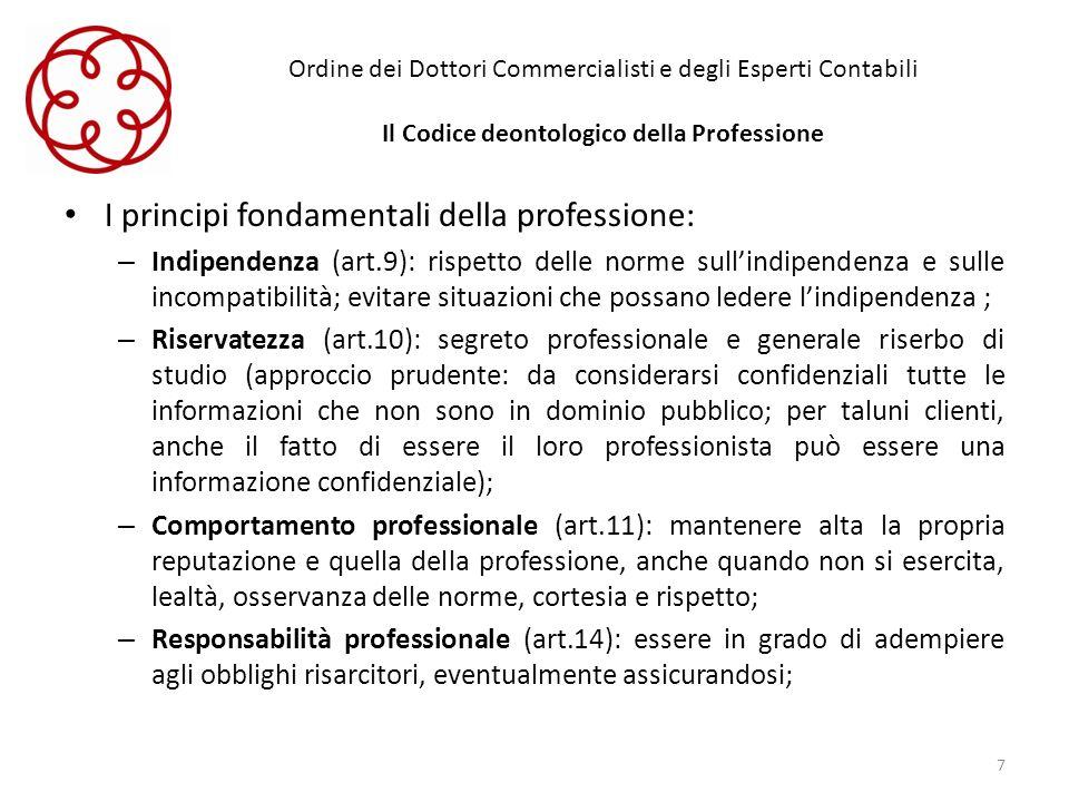 I principi fondamentali della professione: