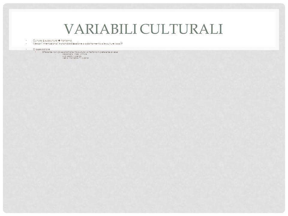 Variabili culturali Cultura & subcultura  richiamo