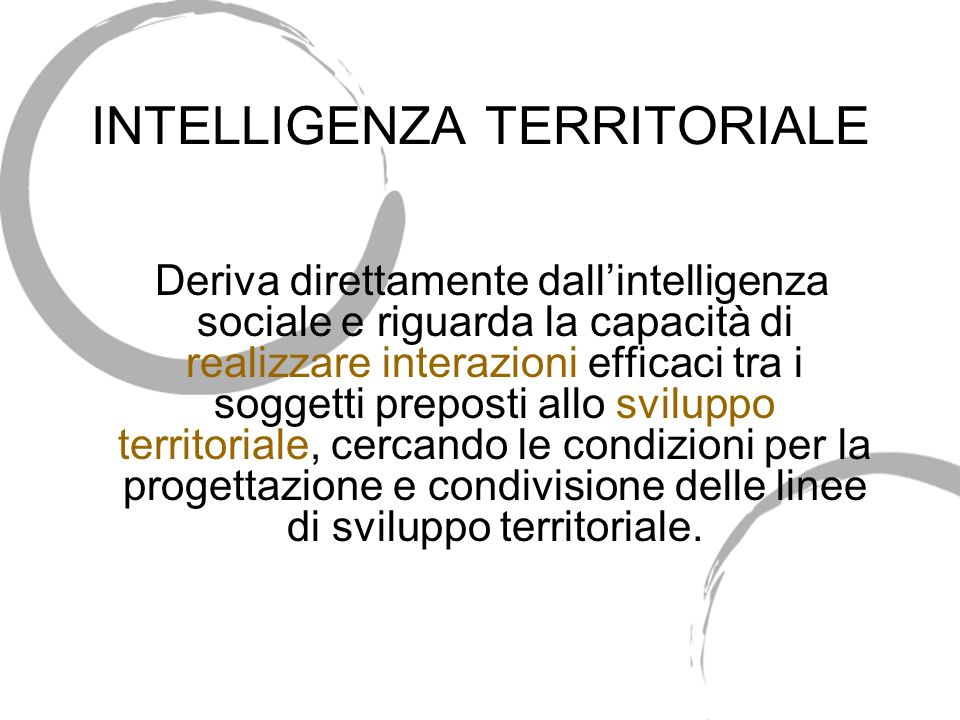 INTELLIGENZA TERRITORIALE