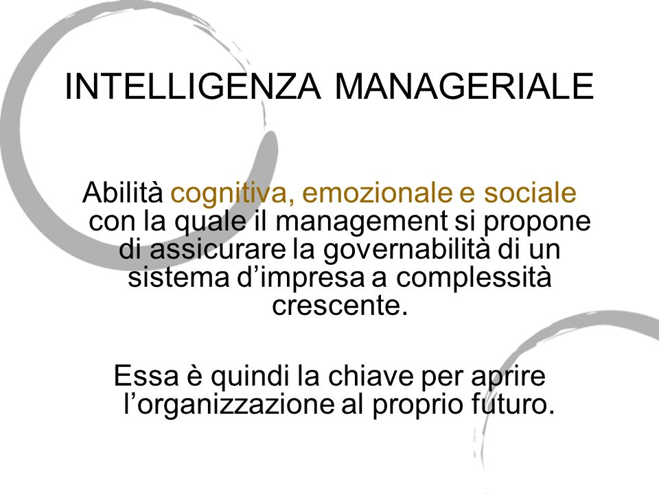 INTELLIGENZA MANAGERIALE