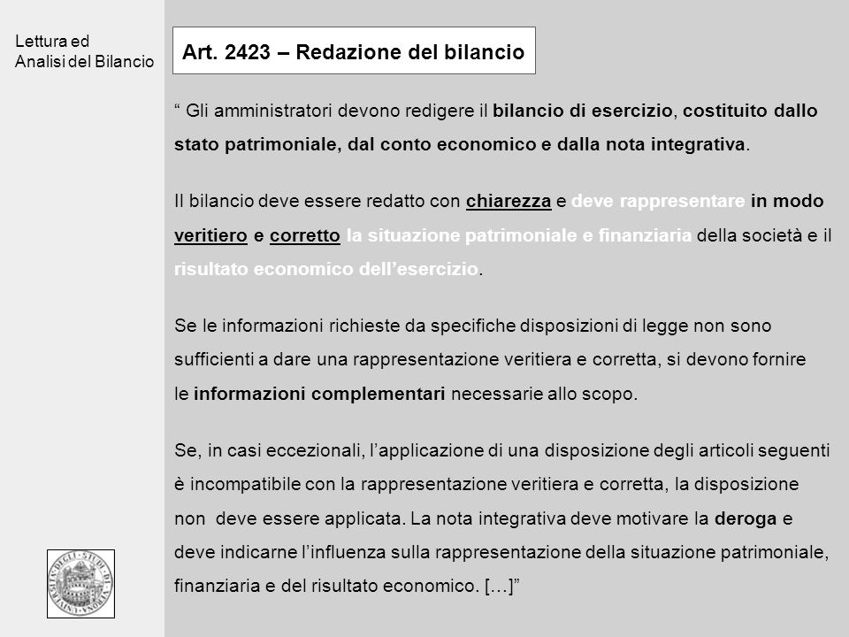 Art. 2423 – Redazione del bilancio