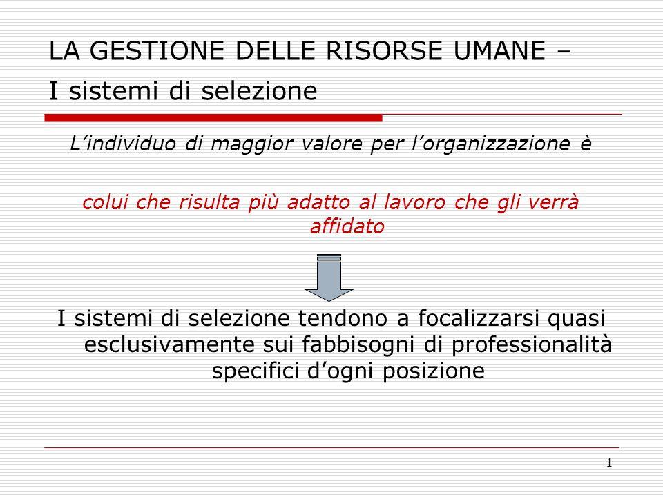 LA GESTIONE DELLE RISORSE UMANE – I sistemi di selezione