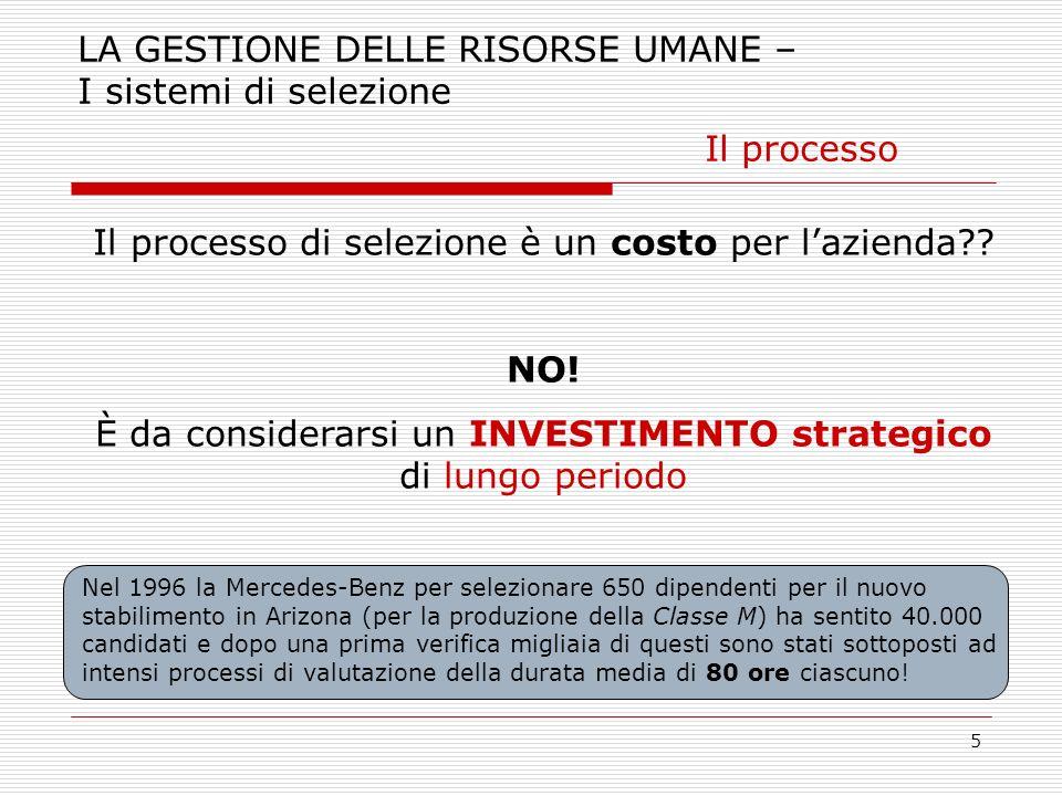 LA GESTIONE DELLE RISORSE UMANE – I sistemi di selezione Il processo