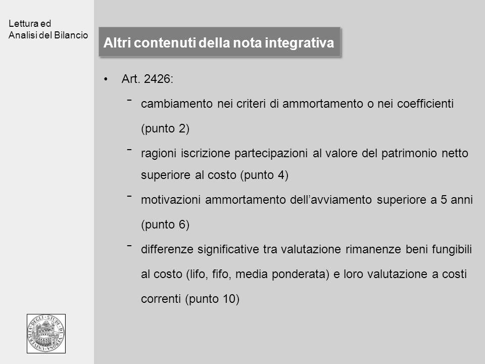 Altri contenuti della nota integrativa