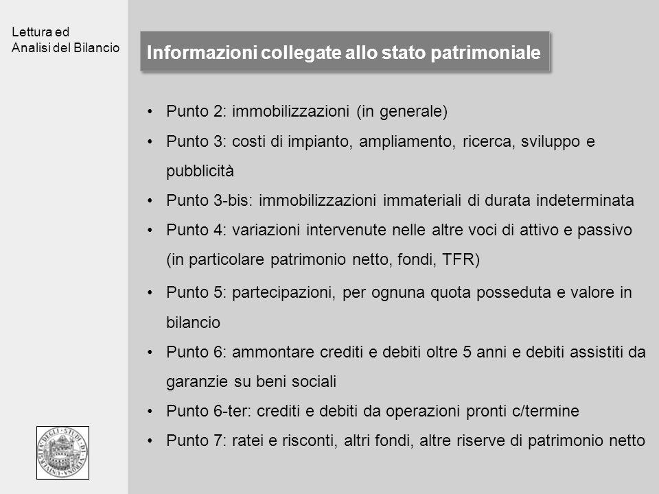Informazioni collegate allo stato patrimoniale