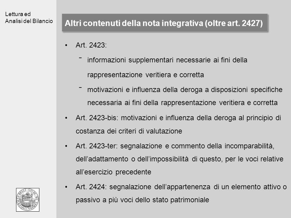 Altri contenuti della nota integrativa (oltre art. 2427)