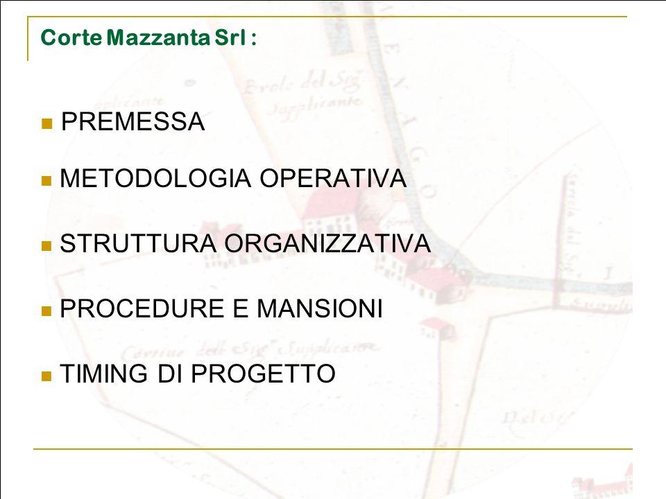 PREMESSA METODOLOGIA OPERATIVA STRUTTURA ORGANIZZATIVA