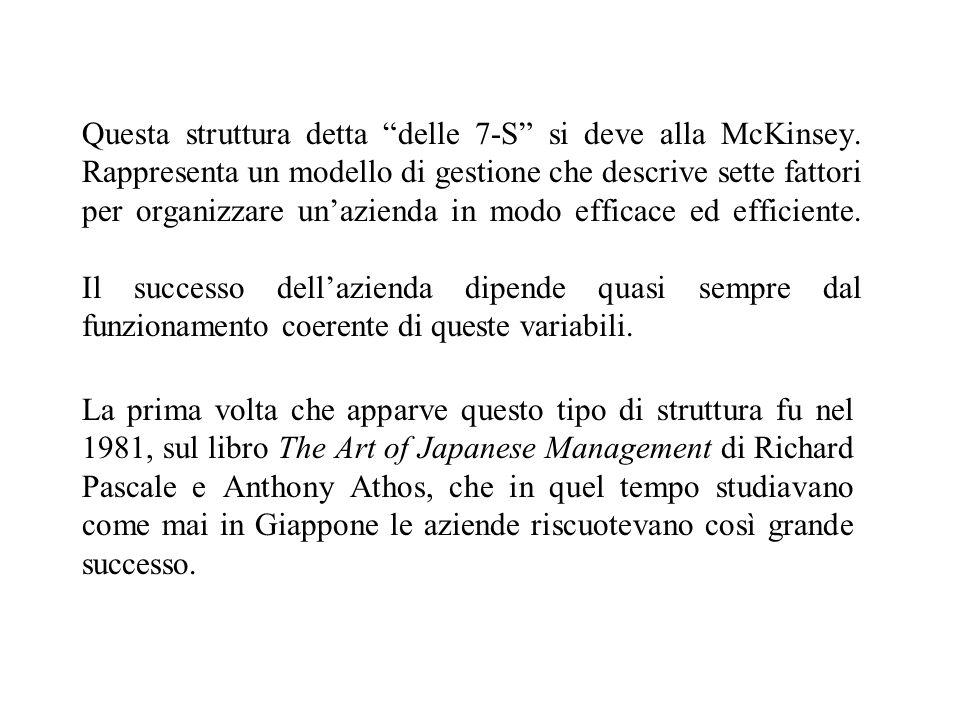 Questa struttura detta delle 7-S si deve alla McKinsey