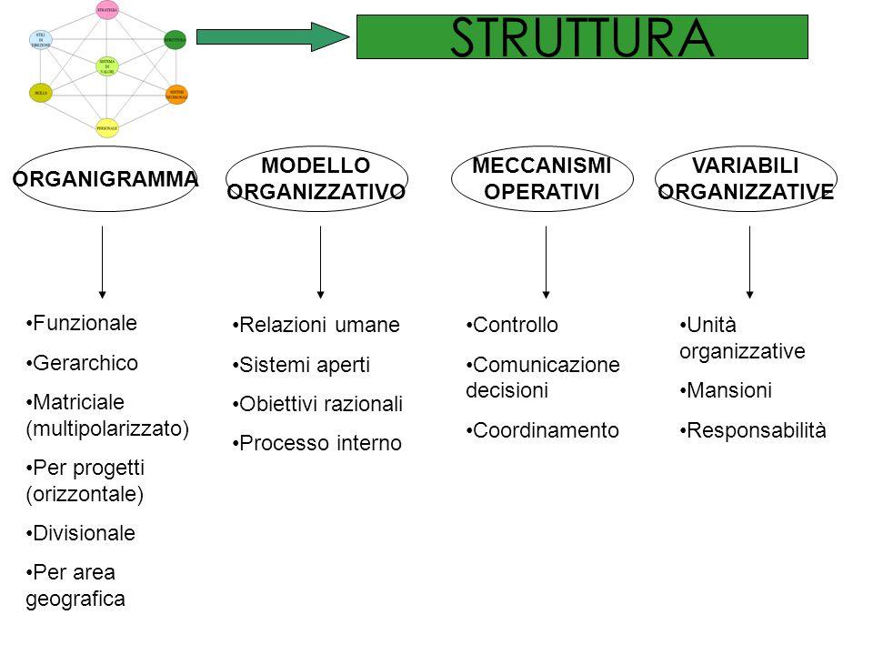 STRUTTURA ORGANIGRAMMA MODELLO ORGANIZZATIVO MECCANISMI OPERATIVI