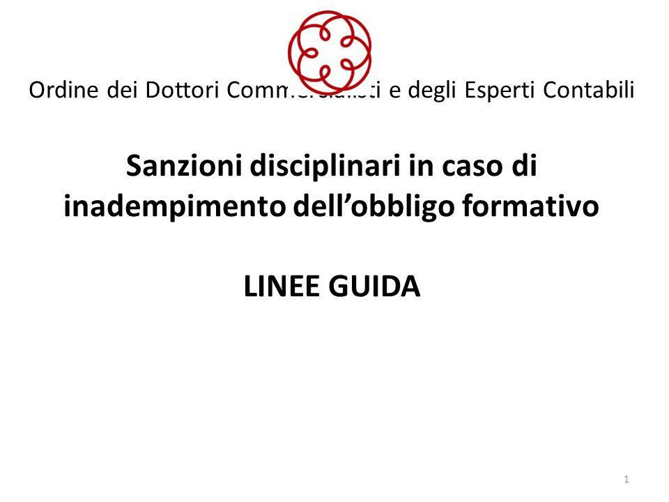 Ordine dei Dottori Commercialisti e degli Esperti Contabili Sanzioni disciplinari in caso di inadempimento dell'obbligo formativo LINEE GUIDA