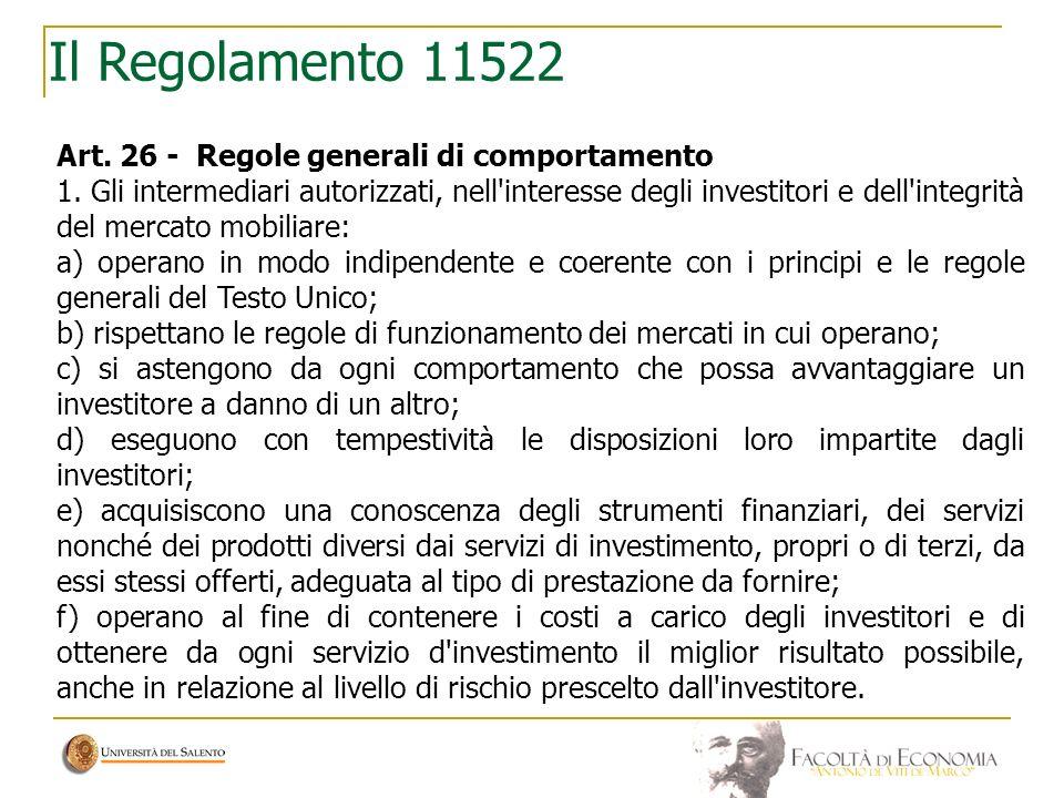 Il Regolamento 11522 Art. 26 - Regole generali di comportamento
