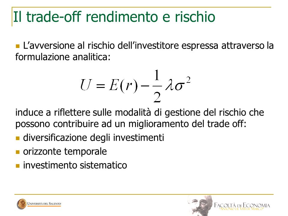 Il trade-off rendimento e rischio