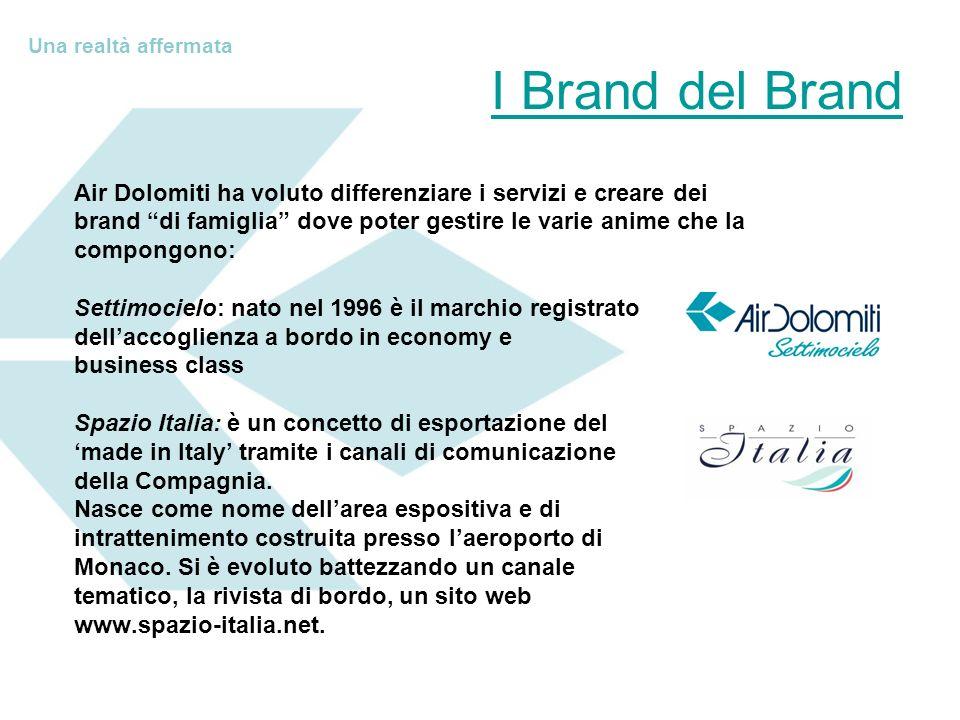 Una realtà affermata I Brand del Brand. Air Dolomiti ha voluto differenziare i servizi e creare dei.
