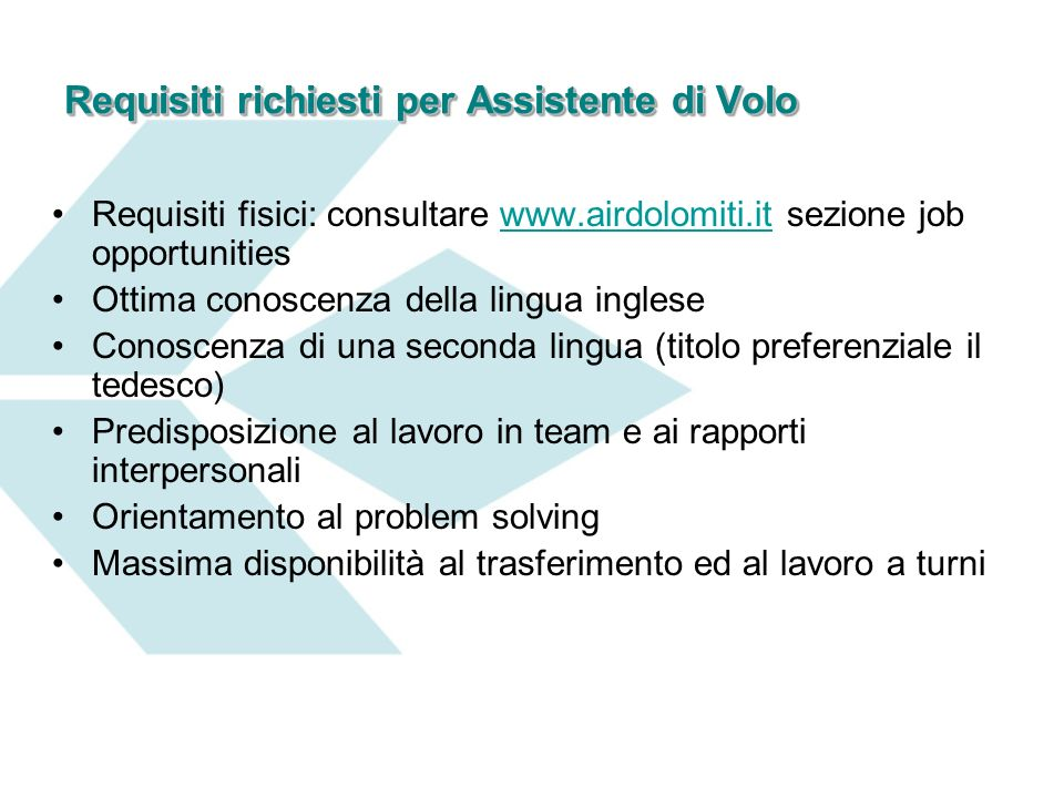 Requisiti richiesti per Assistente di Volo
