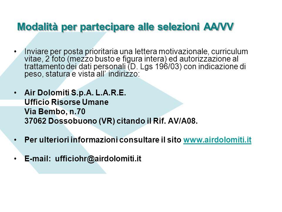 Modalità per partecipare alle selezioni AA/VV