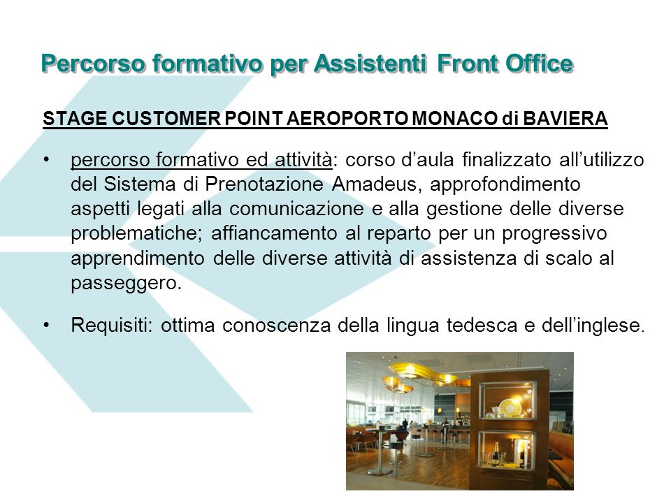 Percorso formativo per Assistenti Front Office