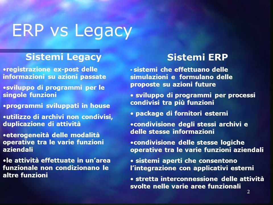 ERP vs Legacy Sistemi Legacy Sistemi ERP