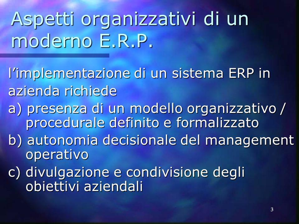 Aspetti organizzativi di un moderno E.R.P.