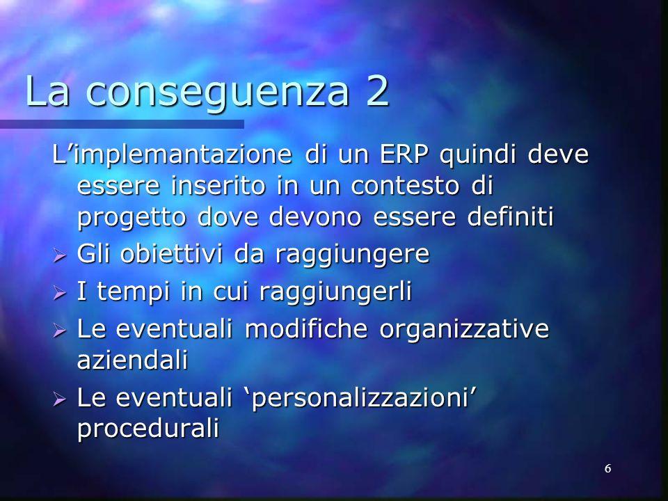 La conseguenza 2 L'implemantazione di un ERP quindi deve essere inserito in un contesto di progetto dove devono essere definiti.
