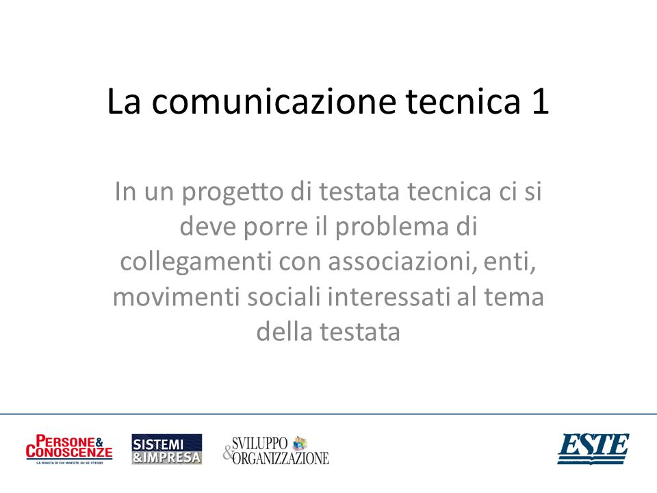 La comunicazione tecnica 1