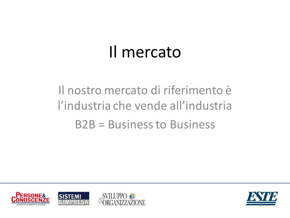 Il mercato Il nostro mercato di riferimento è l'industria che vende all'industria.