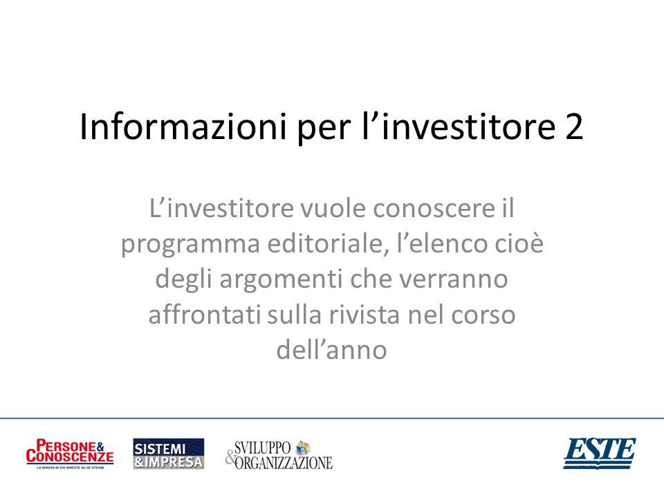 Informazioni per l'investitore 2