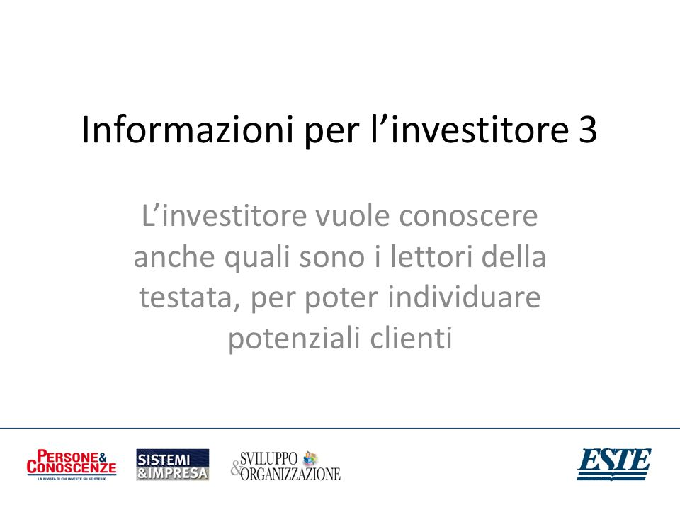 Informazioni per l'investitore 3