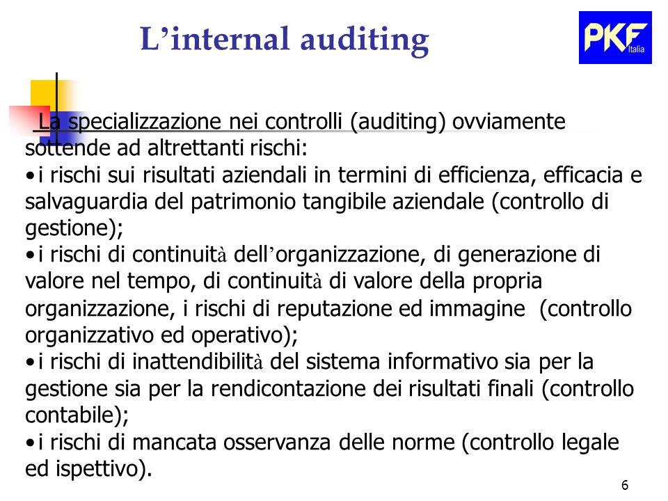L'internal auditing La specializzazione nei controlli (auditing) ovviamente sottende ad altrettanti rischi: