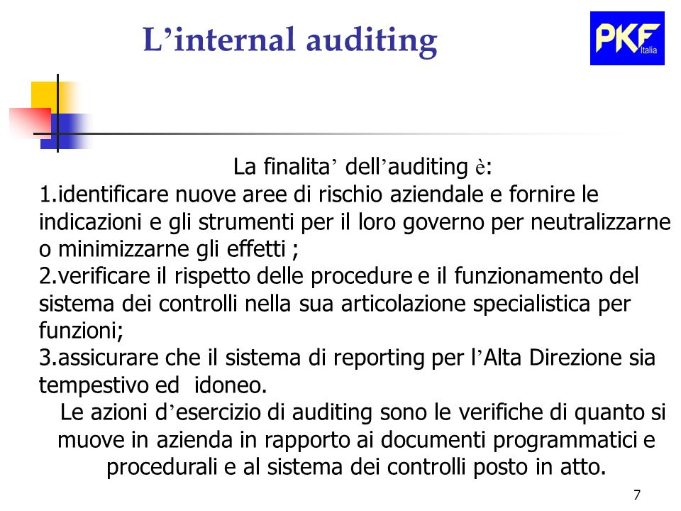 La finalita' dell'auditing è: