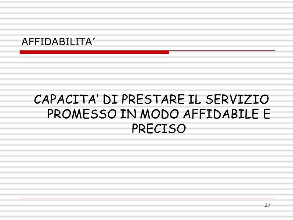 AFFIDABILITA' CAPACITA' DI PRESTARE IL SERVIZIO PROMESSO IN MODO AFFIDABILE E PRECISO