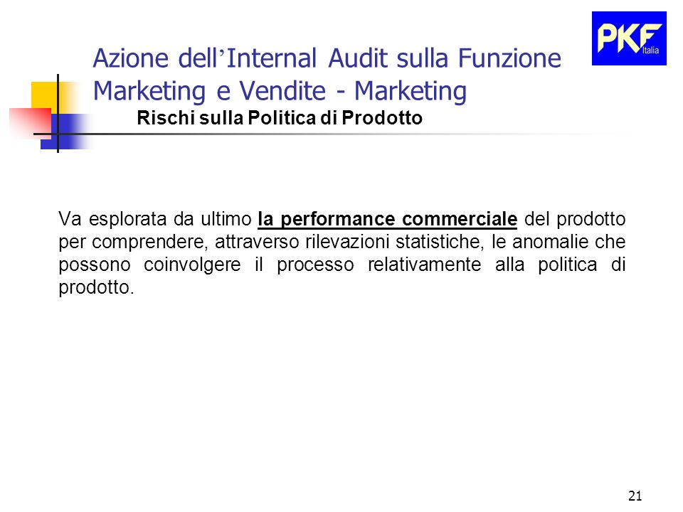 Azione dell'Internal Audit sulla Funzione Marketing e Vendite - Marketing