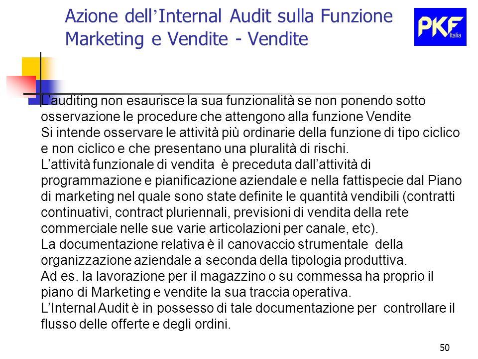 Azione dell'Internal Audit sulla Funzione Marketing e Vendite - Vendite
