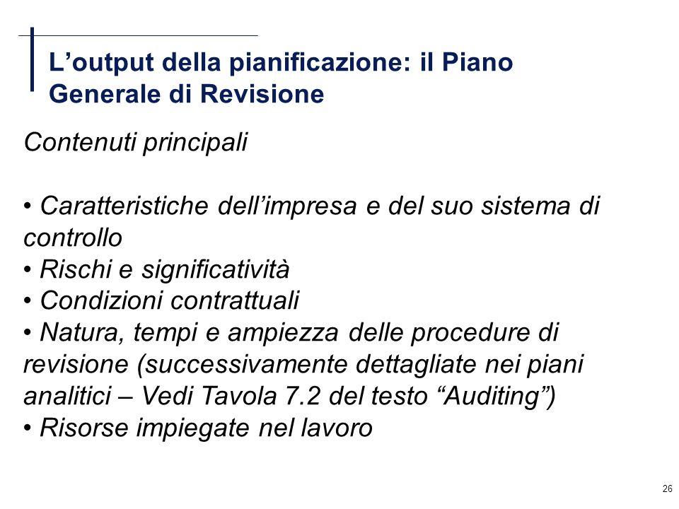 L'output della pianificazione: il Piano Generale di Revisione