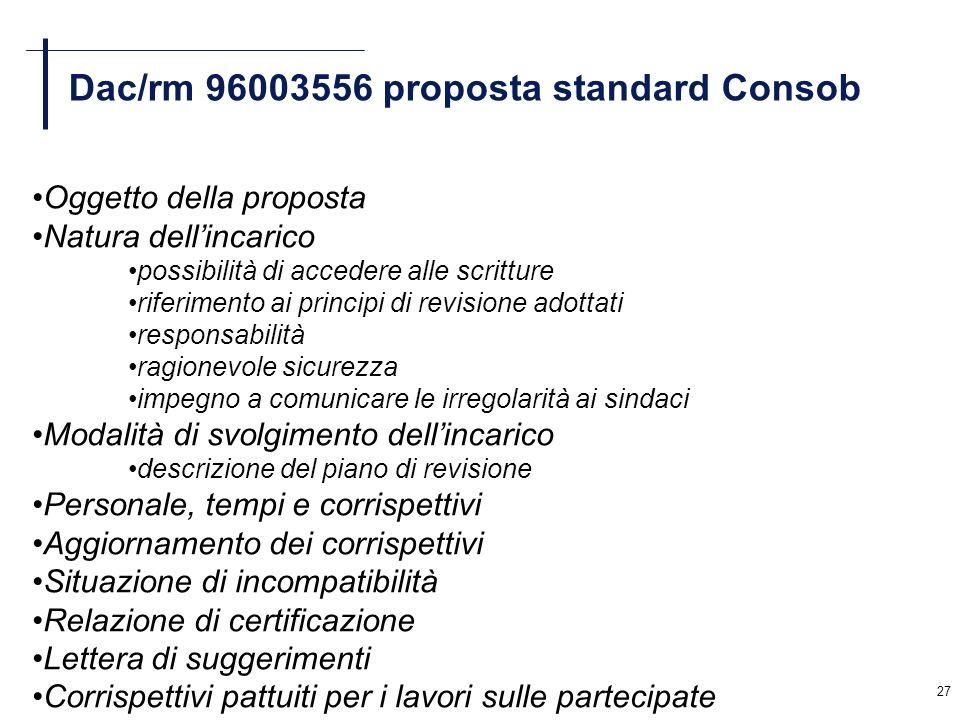 Dac/rm 96003556 proposta standard Consob