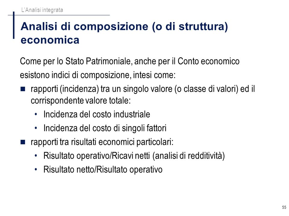 Analisi di composizione (o di struttura) economica