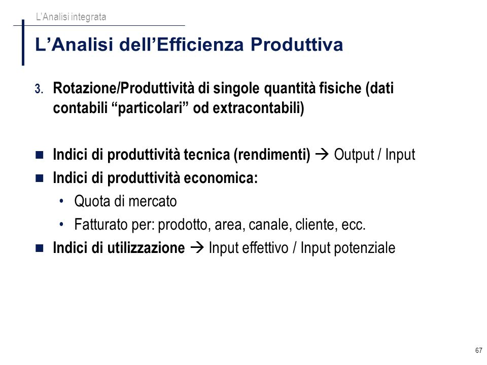 L'Analisi dell'Efficienza Produttiva