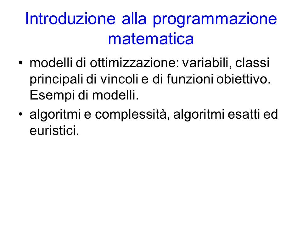 Introduzione alla programmazione matematica