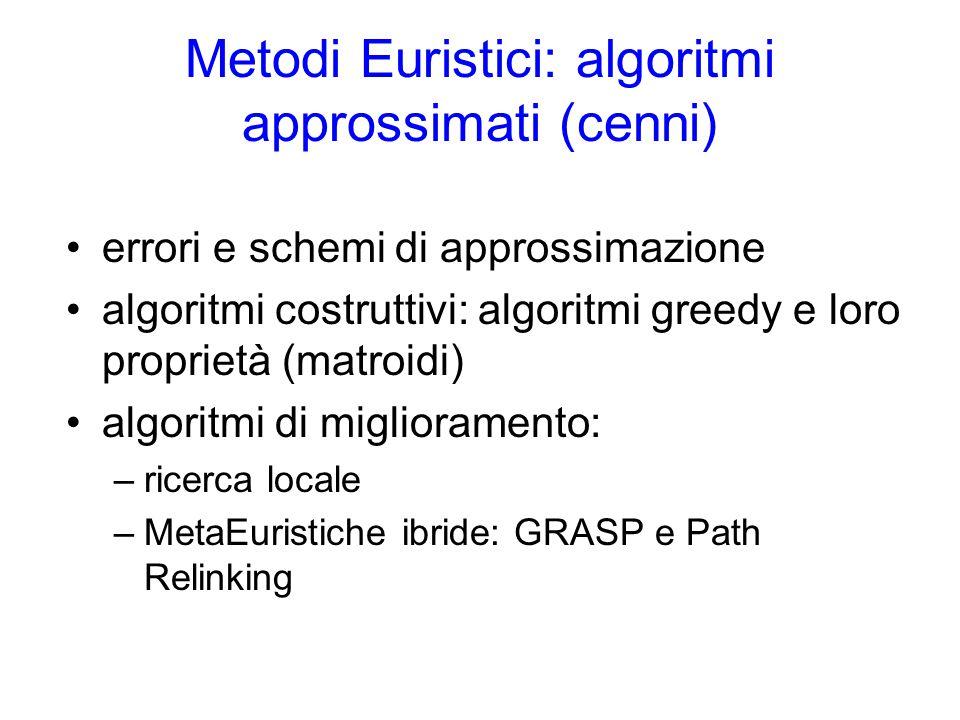 Metodi Euristici: algoritmi approssimati (cenni)