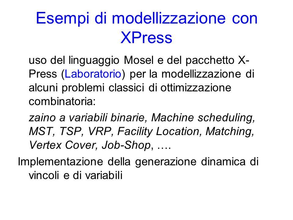 Esempi di modellizzazione con XPress