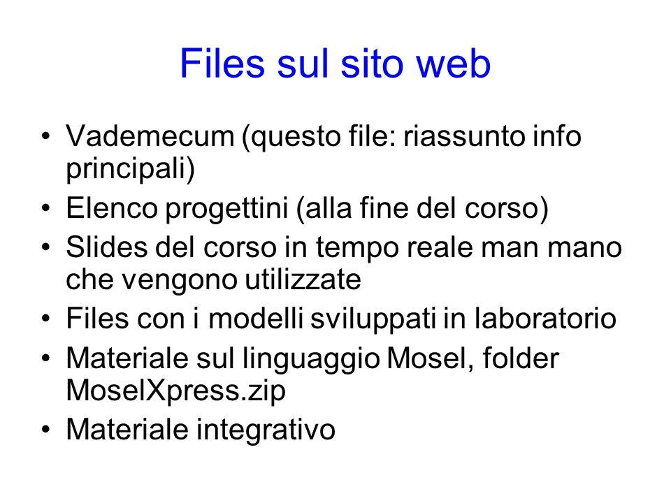 Files sul sito web Vademecum (questo file: riassunto info principali)