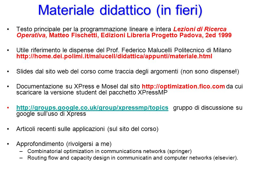 Materiale didattico (in fieri)