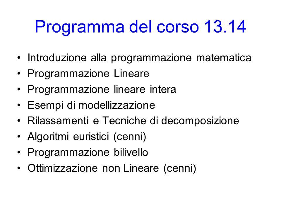 Programma del corso 13.14 Introduzione alla programmazione matematica