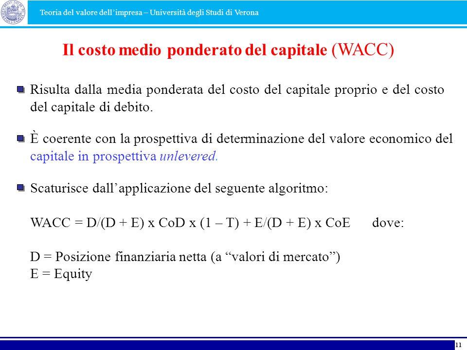Il costo medio ponderato del capitale (WACC)